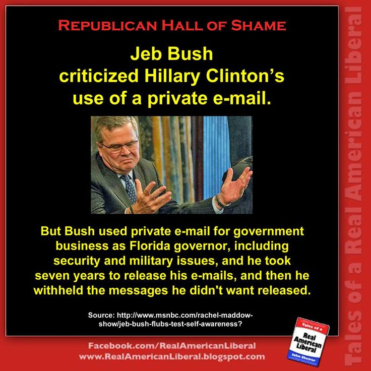 For Republicans, e-mail is the new birth certificate. Jeb Bush is hypocritically attacking Hillary Clinton for doing the same things he and other Republicans did. In addition, Colin Powell and Condoleezza Rice also used private e-mail accounts as Secretary of State, and George W. Bush used an RNC e-mail account and destroyed those messages. Mitt Romney even destroyed government computers at the end of his term as Massachusetts governor. Clearly, Republicans have a double-standard when it…
