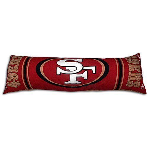 "NFL San Francisco 49ers Body Pillow by Northwest. $25.00. 100% Polyester Shell. 100% Polyester Fill. Body Pillow Measures 19"" x 54"". Extra long and extra comfortable, the Northwest NFL Body Pillow is right at home in any bedroom or dorm room. Screenprinted with your favorite team's logo and nickname. 50%cotton/50% polyester with 100% polyester fill. Sz: 19"" x 54""."