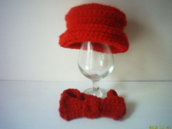 photo prop hand crochet baby boy hat & bow tie by crochetfifi