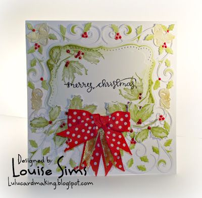 Spellbinders 3D shadow stamps used with the Decorative Holly Frame.  Decorative Holly Frame die from Spellbinders ... plus blog candy ~ Louise Sims Papercrafter  #spellbloggers  #spellbinders  xneverstopmaking