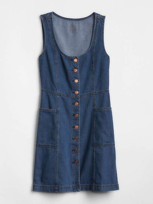 639b1b26c9d Button-Front Denim Tank Dress - Gap - Cute for summer, button down jean  dress, sleeveless short dress #gap #denim #buttondown #sleeveless #dress ...