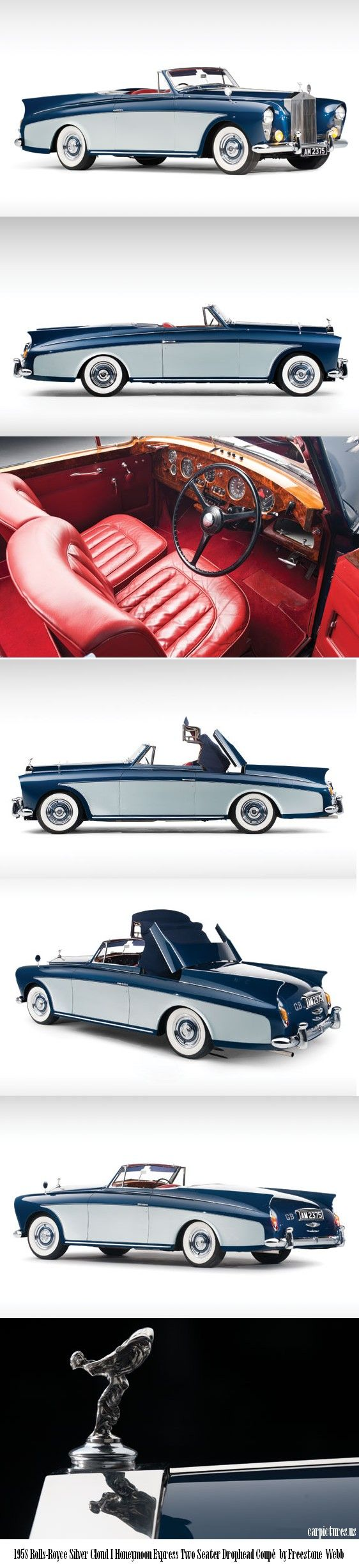This is just a beautiful vehicle. This would be a dream to own. 1958 Rolls-Royce Silver Cloud Honeymoon Express Two Seater Drophead Coupé. by: Freestone Webb