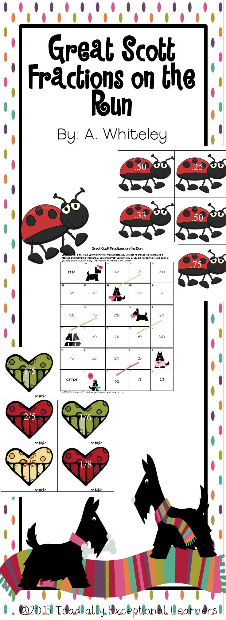 This is a fun way to practice Fractions and Decimals The packet contains 2 two games to help students move between fractions and decimals fluently. With these games students can practice with fractions halves, thirds, fourths, fifths, one-sixth, and one-eighth in small group, partner work, or with parents. This is great for 3rd and up.