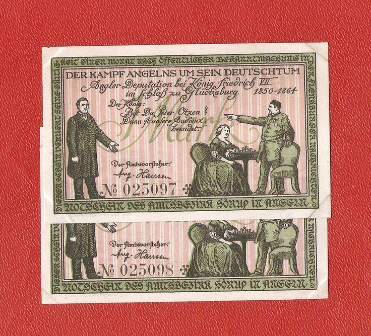 Germany Notgeld 1 mark 1919 Schleswig Holstein Sorup Angeln NUMBER CONSECUTIVE