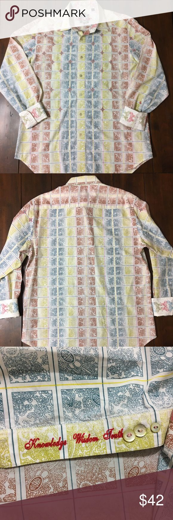 """Robert Graham Button Down Long Sleeve Shirt Sz L Robert Graham long sleeve button down shirt. Shirt has Embroidered Paisley on sleeve cuffs. Pattern of shirt is a striped Paisley print. No stains, holes or pilling. Chest 23"""", length 29"""", sleeve length 25""""  All measurements taken laying flat. Robert Graham Shirts Casual Button Down Shirts"""