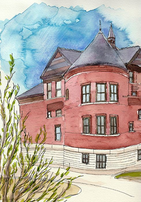 Iowa State University: watercolor drawing on cold press paper, Original size (h)28 x (w)18