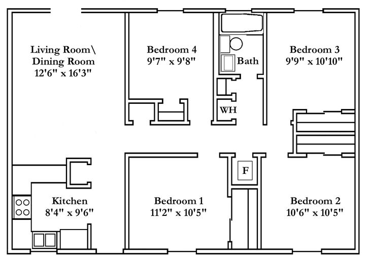 Small 4 bedroom house plans free typical floor plans for 4 bedroom floor plans