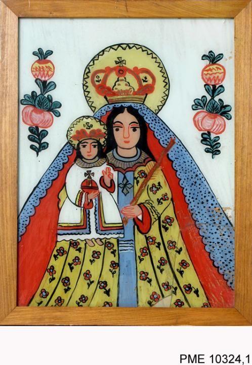 Roj-Kozłowska Helena, Obraz na szkle Madonna z Dzieciątkiem | Zbiory on-line Państwowego Muzeum Etnograficznego w Warszawie