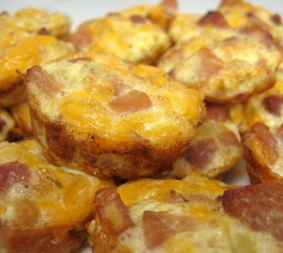 Awesome idea for finger foods at parties. Mini Ham Frittatas.