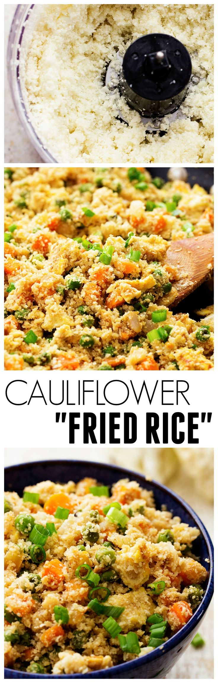 This Cauliflower Fried Rice looks and tastes exactly like fried rice! But SO much healthier for you! On MRC menus sub carrots for another vegetable like mushrooms or broccoli, leave off the white onion.
