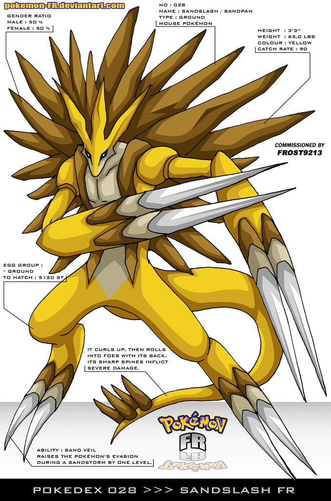 Pokedex 028 Sandslash Fr By Pokemon Fr On Deviantart Pok 233 Mon Digimon Pinterest Pok 233 Mon