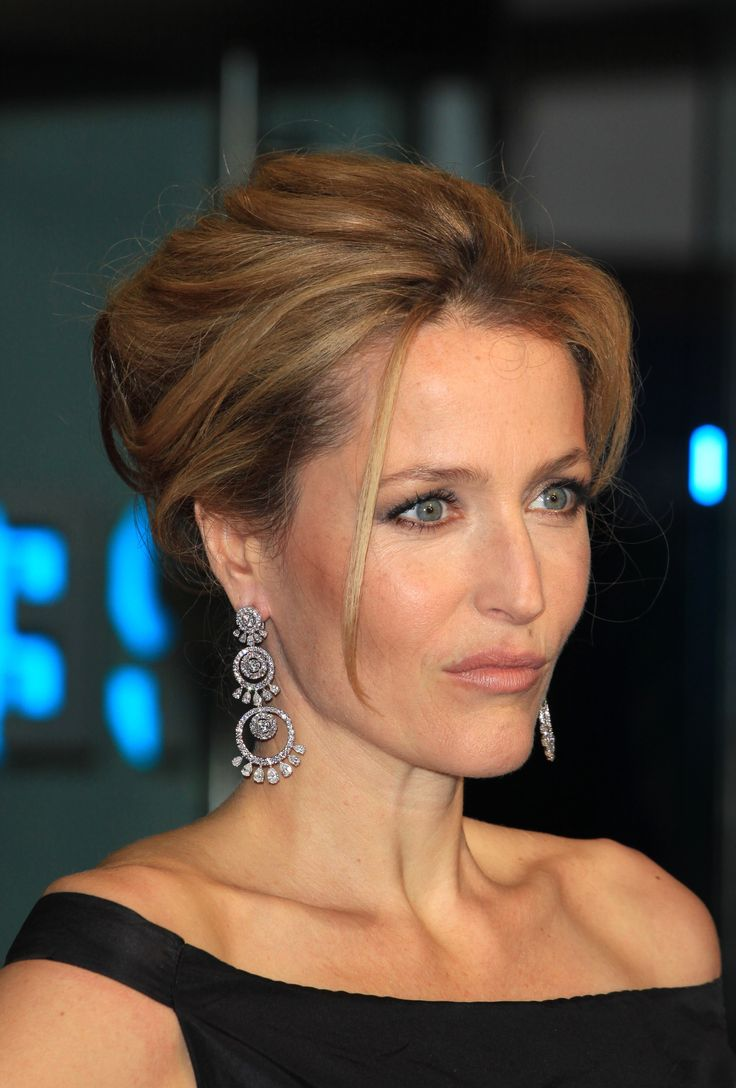Mother-of-the-Bride Hair add in a braid | Updo on Gillian Anderson via She Knows