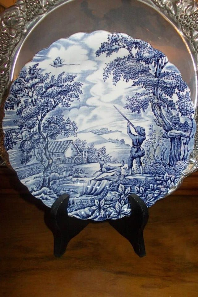 a big fine porcelain plate from the collection by Myott ''The Hunter''rare antique by StrangeAttachments on Etsy