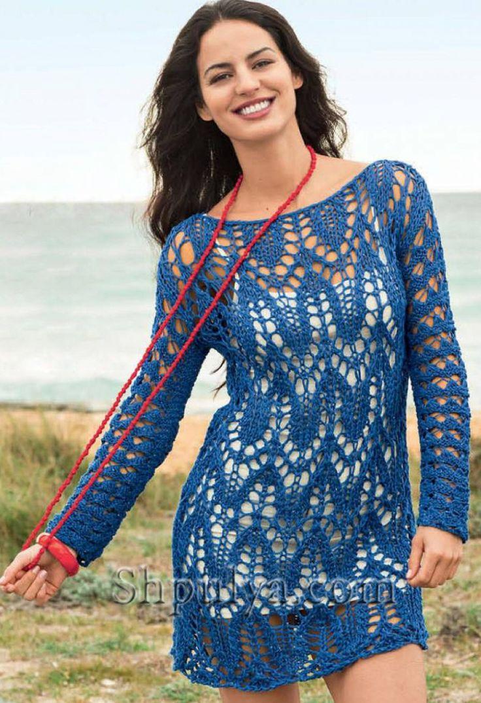 www.SHPULYA.com - Синее платье с ажурным узором