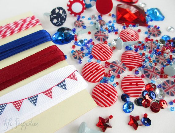 London British Embellishment Pack - bakers twine, ribbon, buttons, beads, brads