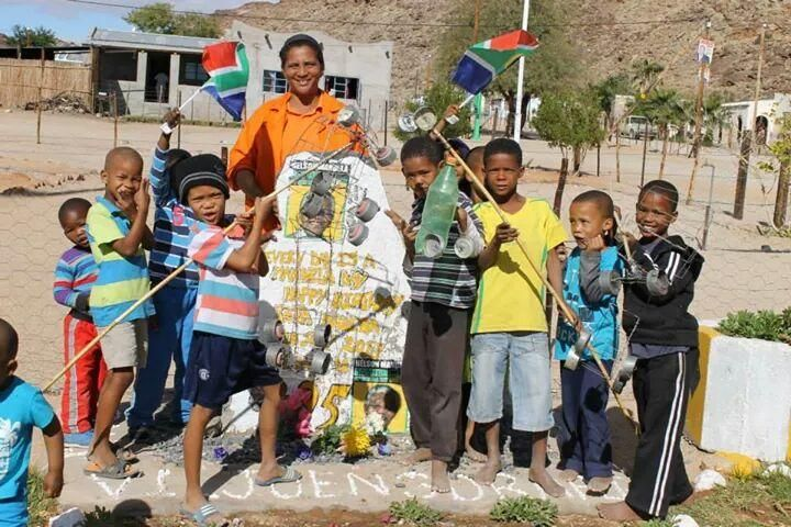 Children from Onseepkans at a monument in honour of #MandelaDay. Picture: @wallycloete