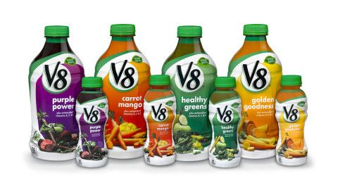 V8(R) launches NEW V8 Vegetable and Fruit Juice Beverages, including Healthy Greens, Purple Power, G ...