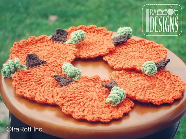 10 FREE Crochet Patterns for Your Thanksgiving Dinner Table: Crochet Pumpkin Coaster FREE Pattern
