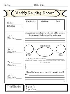 Weekly Reading Record with Comprehension Activities for each night FREEBIE