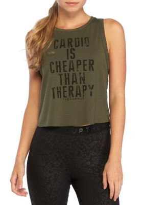 Jessica Simpson Women's Cardio Is Cheaper Than Therapy Graphic Tank - Marshal Green - Xs