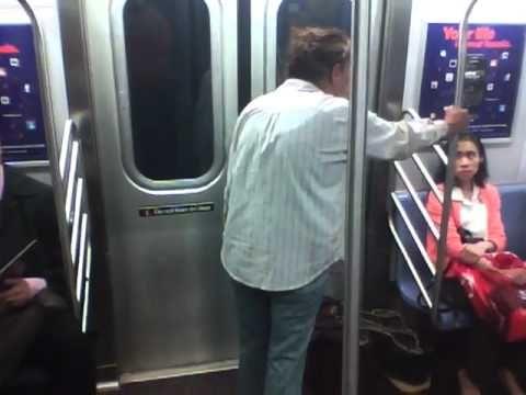crazy lady attacks! nyc subway - YouTube