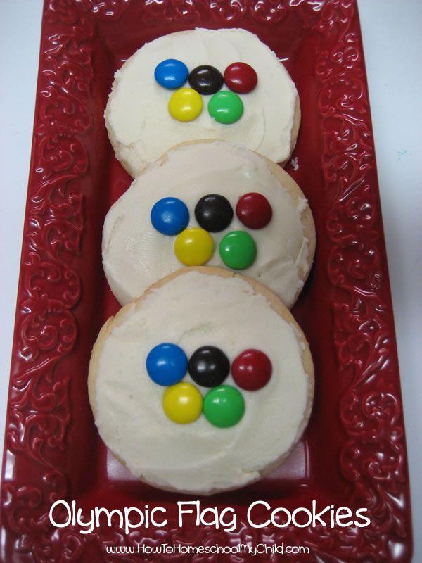 Olympic flag cookies | HowToHomeschoolMyChild.com