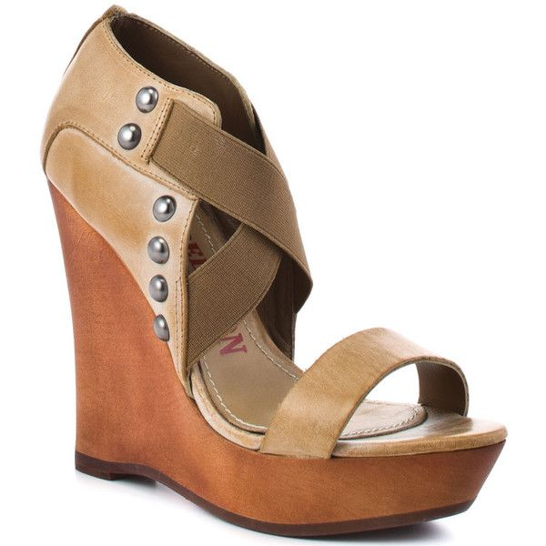 True Religion Women's Humphrey - Camel ($144) ❤ liked on Polyvore featuring shoes, sandals, wedges, heels, zapatos, camel, wooden platform sandals, wooden sandals, heeled sandals and wedge sandals