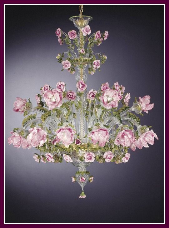 The 30 best beautiful murano glass chandeliers images on pinterest a charming venetian chandelier adorned with pink murano glass roses pretty as a picture aloadofball Gallery