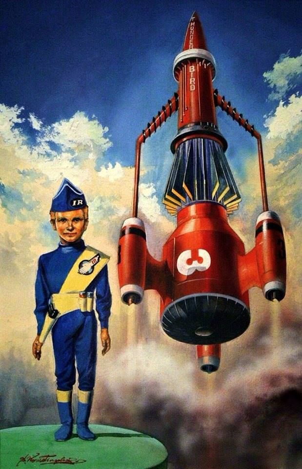 """Thunderbirds, art by Shigeru Komatsuzaki, Japan (1960's) who was known in Japan as a """"giant in sci-fi illustrations"""" whose career arc began during the early-postwar years, its artistic and commercial pinnacle coinciding with Japan's rise as an economic superpower. http://spacedock2001.blogspot.co.uk/"""