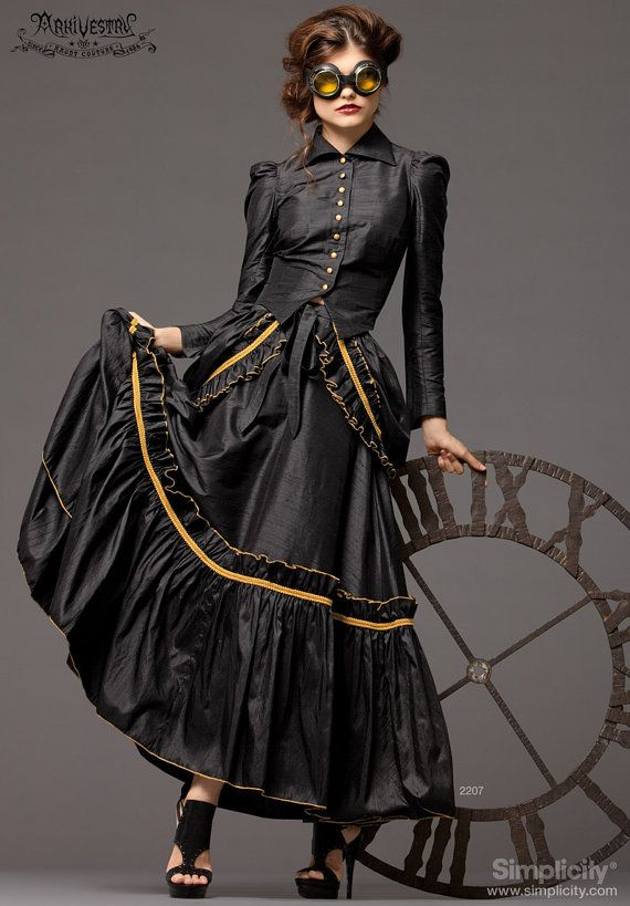 steampunk bustle dress pattern simplicity 2207 womens