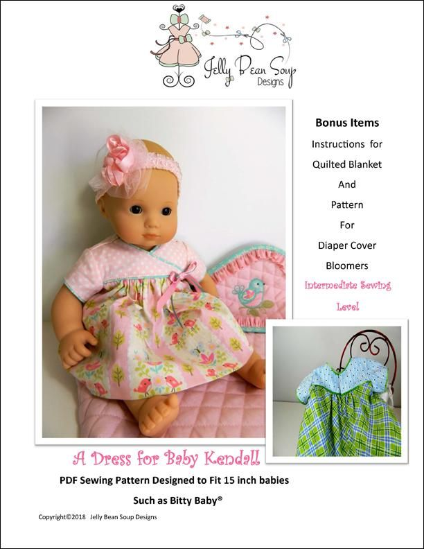 A Dress For Baby Kendall 15 Baby Doll Clothes Pattern Baby Doll Clothes Patterns Doll Clothes Patterns Bitty Baby Clothes