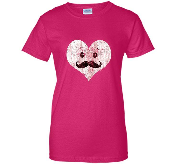 Vintage Kawaii Heart Mustache Men's Valentine's Day T-Shirt