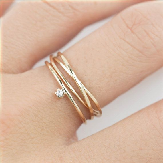 Simple engagement ring set, Minimalist engagement ring set, Modern wedding band delicate small diamond 14k solid gold, rose gold, white gold