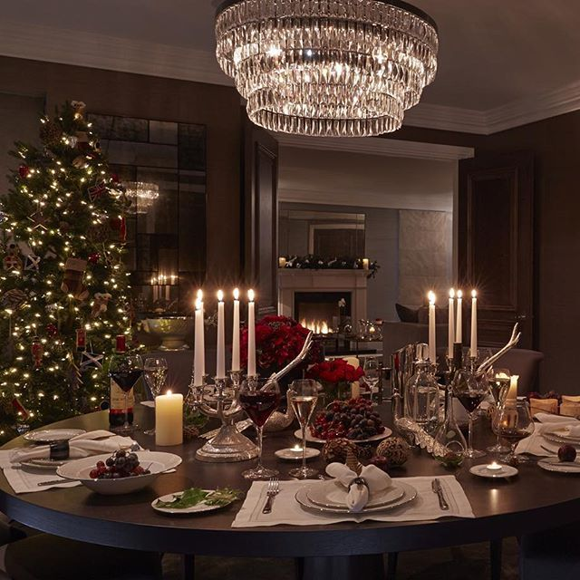 Our dining room looking very festive and cosy last year #diningroom #festive #christmas #chandelier #luxuryinteriors #SophiePatersonInterior...