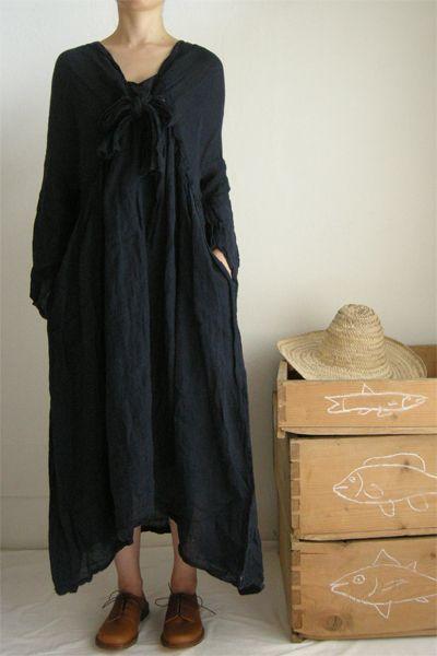Daniela Gregis washed mafalda dress with vertical neck folds alo