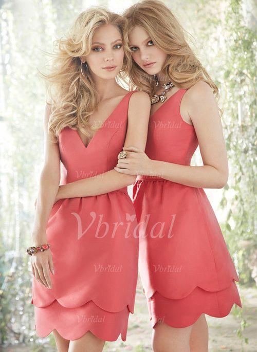 Bridesmaid Dresses - $81.32 - Sheath/Column V-neck Short/Mini Satin Bridesmaid Dress With Ruffle (0075057181)