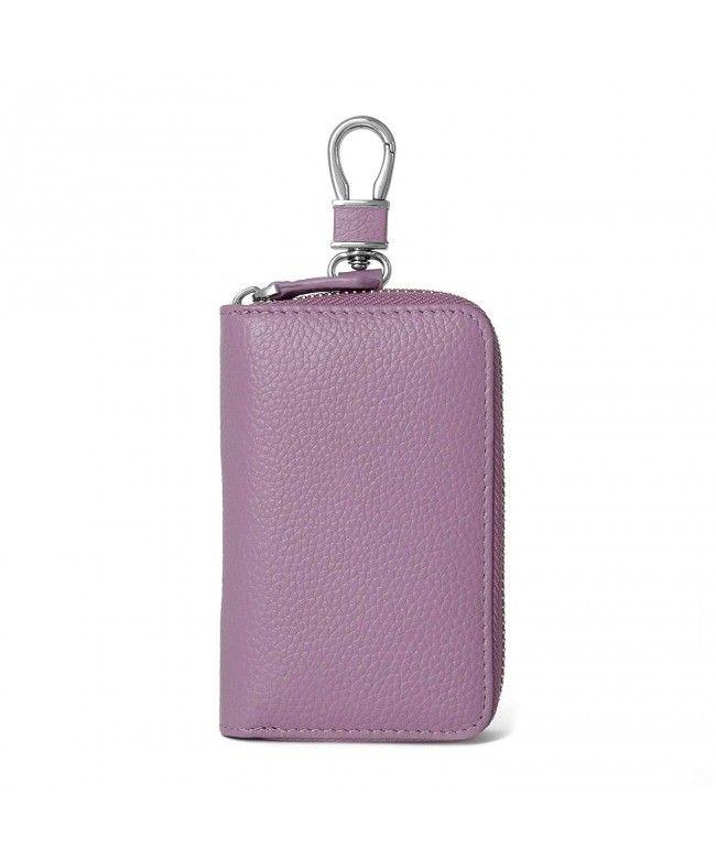 Women s Genuine Leather Zipper Key Case Car Key Holder 6 Hook Key Wallet -  Purple B 605dca9719