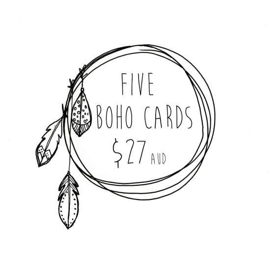5 BOHO CARDS . choose 5 cards . greeting card . by ThePaisleyFive