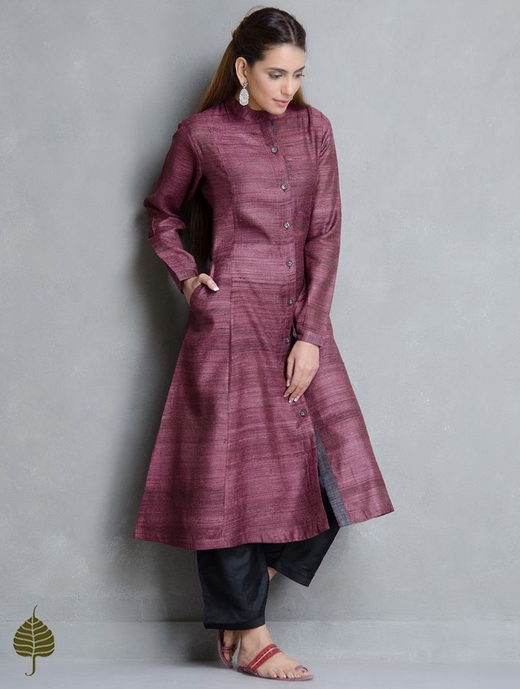 Buy Burgundy Tussar Gicha Kurta with Pockets by Jaypore Online at Jaypore.com