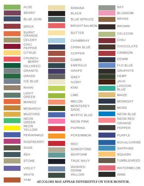 Comfort Color T Shirt Color Chart Rebellions