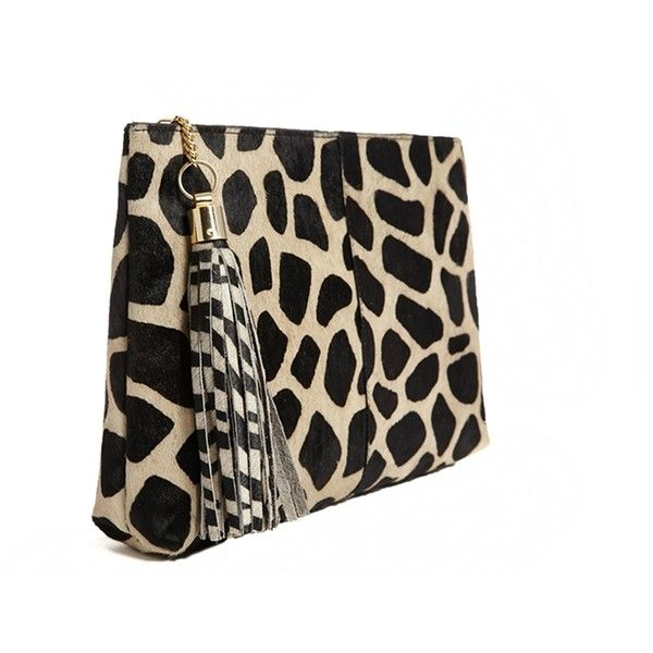 River Island Black Leather Giraffe Print Ponyskin Large Clutch (17.605 CLP) ❤ liked on Polyvore featuring bags, handbags, clutches, river island purses, giraffe handbag, genuine leather handbags, leather clutches and river island handbags