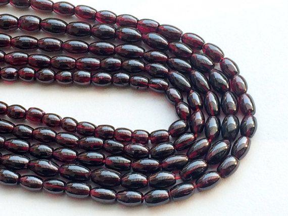 Garnet Beads Garnet Plain Fancy Oval Drum Beads by gemsforjewels