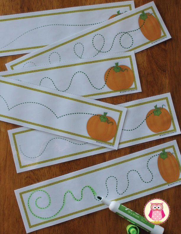 Free pumpkin patch pre-writing practice cards. A great way to work on fine motor skills and manual dexterity. Kids can trace the pumpkin's vine with a dry erase marker, crayon, wikki stix, or coil of play dough. https://www.teacherspayteachers.com/Product/Pumpkins-Pre-Writing-Cards-FREEBIE-Fall-Fine-Motor-Practice-for-ECE-2107997