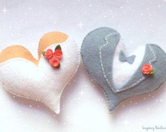 Bride and groom cake topper, Door hanger wedding, Wedding cake topper, Felt magnet, Felt hearts, Heart ornaments