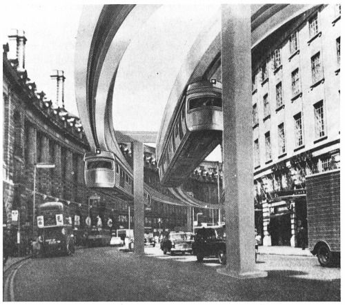 This could have been Regent Street. The Greater London Council completed a feasibility study for an overhead monorail public transport system in 1967.