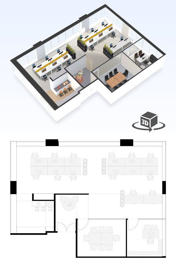 Small Office Floor Plan In Interactive 3d Get Your Own 3d Model Today At Planto Arsitektur Desain Arsitektur Ruang Kantor