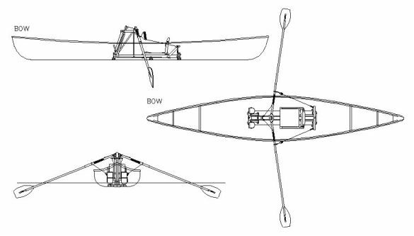 Drawing of frontrower installed in canoe.