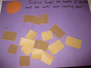 """Joshua and the Battle of Jericho-We made the walls of Jericho. I cut out sandpaper """"bricks"""" from fine-grade sandpaper.. and the kids glued them onto paper."""