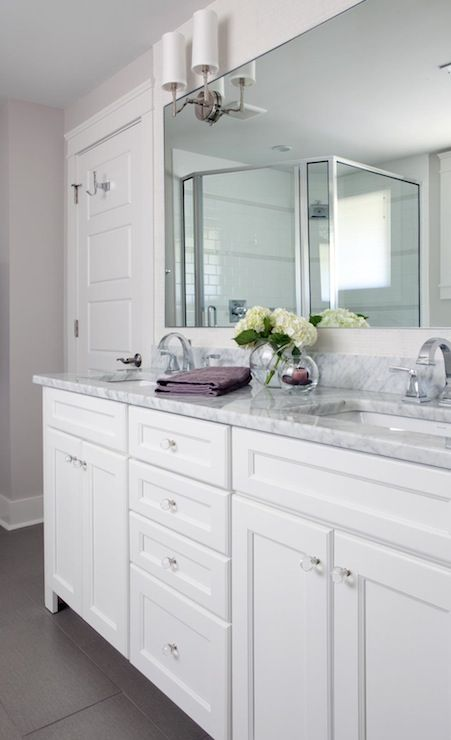 Perfect vanity for me: white, carrera marble, and rectangle sinks!!!