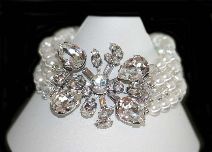 Glamour Vintage Inspired Bracelet. Adorn yourself in glamorous style with this stunning handmade crystal and pearl bracelet. Handmade by Redki - Jewellery, Jewelry Made in Australia. Swarovski Crystals and Crystal pearls. http://www.redki.com.au/